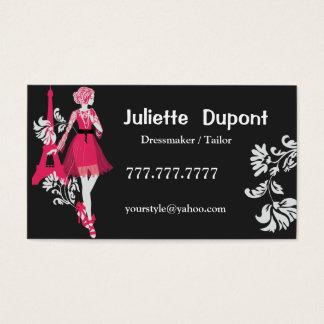 Stylish Tailor Dressmaker Eiffel tower black Business Card