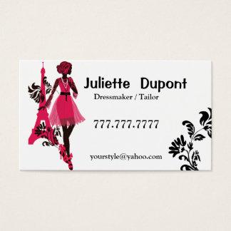 Stylish Tailor Dressmaker Eiffel tower white Business Card