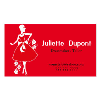 Stylish Tailor Dressmaker red Pack Of Standard Business Cards