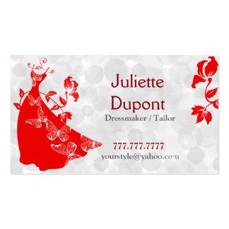 Stylish Tailor Dressmaker tailor salon red Pack Of Standard Business Cards