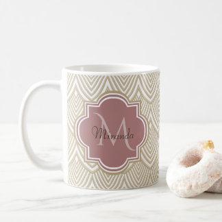 Stylish Tan Arched Scallops Mauve Monogram Name Coffee Mug