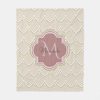 Stylish Tan Arched Scallops Mauve Monogram Name Fleece Blanket