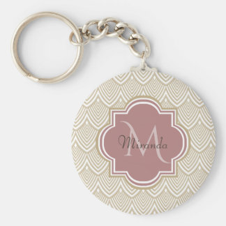 Stylish Tan Arched Scallops Mauve Monogram Name Key Ring
