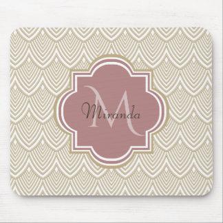 Stylish Tan Arched Scallops Mauve Monogram Name Mouse Pad