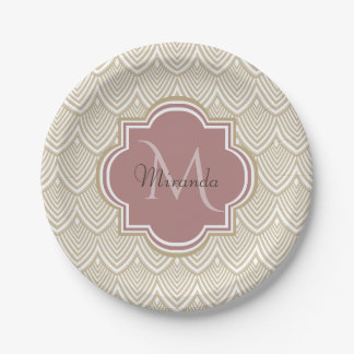Stylish Tan Arched Scallops Mauve Monogram Name Paper Plate
