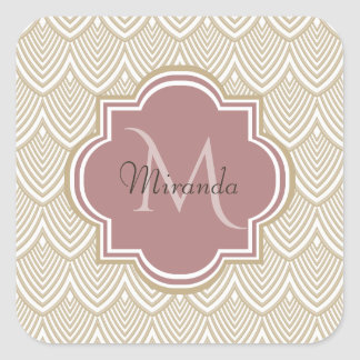 Stylish Tan Arched Scallops Mauve Monogram Name Square Sticker