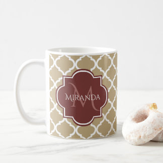 Stylish Tan Quatrefoil Burgundy Monogram and Name Coffee Mug