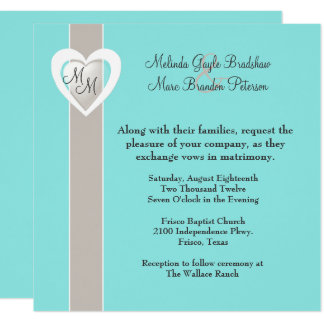 Stylish Taupe and Aqua Blue Wedding Invitation