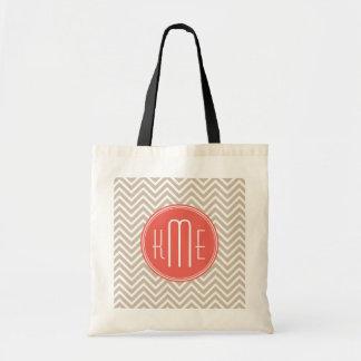Stylish Taupe and Coral Custom Monogram Budget Tote Bag