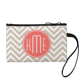 Stylish Taupe and Coral Custom Monogram Change Purse