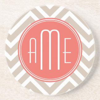 Stylish Taupe and Coral Custom Monogram Coaster