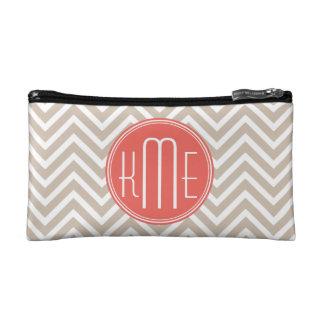 Stylish Taupe and Coral Custom Monogram Makeup Bag