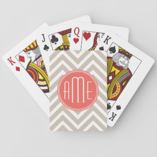 Stylish Taupe and Coral Custom Monogram Playing Cards