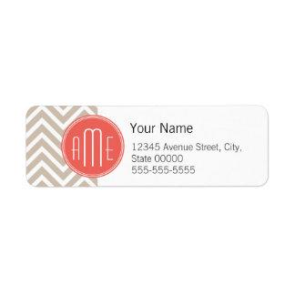 Stylish Taupe and Coral Custom Monogram Return Address Label