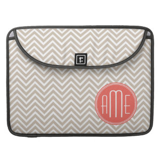 Stylish Taupe and Coral Custom Monogram Sleeves For MacBook Pro