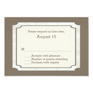 Stylish Taupe Custom Fall Wedding RSVP Card
