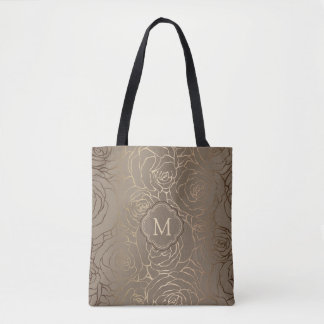 Stylish Taupe Rose Pattern with Your Monogram Tote Bag