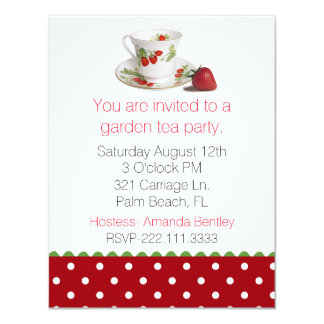 Stylish Tea Cup and Polka Dot Tea Party Invitation