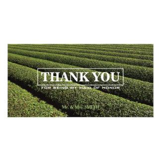 Stylish Tea Plantation Bridesmaid Thank You Card Customized Photo Card