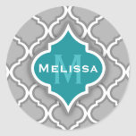 Stylish Teal and Grey Moroccan Tile Pattern Round Stickers