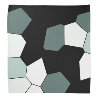 Stylish Teal Green Black White Pattern Bandana
