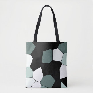 Stylish Teal Green Black White Pattern Tote Bag