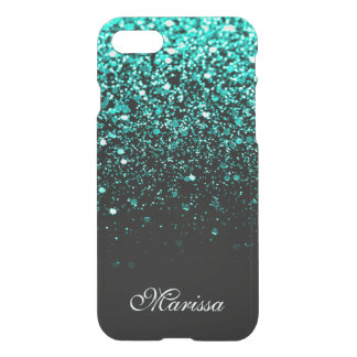 Stylish Teal Green Glitter Cool Black iPhone 8/7 Case