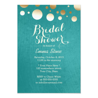 Stylish Teal Green Gold Dots Bridal Shower 13 Cm X 18 Cm Invitation Card