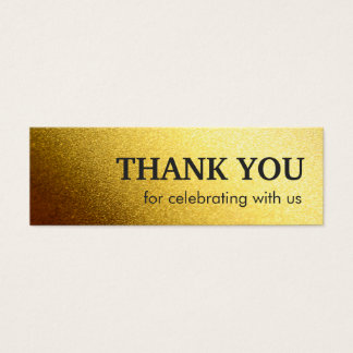Stylish Thank you favor tag - Shiny Gold Glitter Mini Business Card