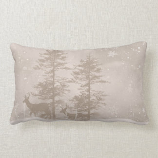Stylish Throw Pillow With Winter Deer Scenery