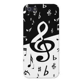 Stylish Treble Clef Wave Black and White iPhone 5/5S Cover
