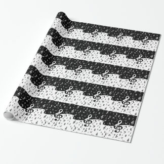 Stylish Treble Clef Wave Black and White Wrapping Paper
