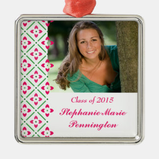 Stylish trendy floral graduation photo ornament