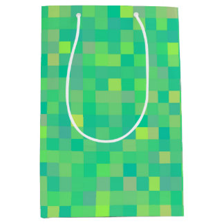 Stylish Trendy Green Multicolor Pixel Pattern Medium Gift Bag