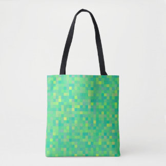 Stylish Trendy Green Multicolor Pixel Pattern Tote Bag