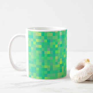 Stylish Trendy Green/Yellow Pixel Mosaic Pattern Coffee Mug