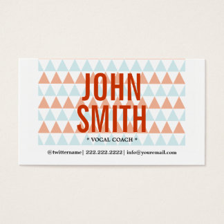 Stylish Triangle Pattern Vocal Coach Business Card