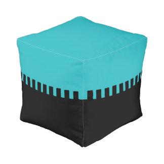 Stylish Turquoise and Black Pattern Pouf
