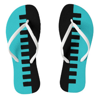 Stylish Turquoise and Black Pattern Thongs
