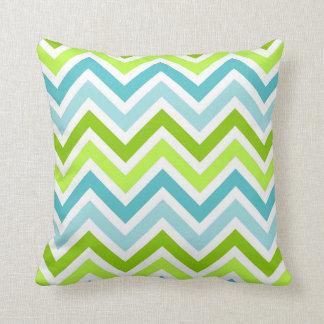 Stylish Turquoise and Green Chevron Pattern Pillow