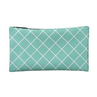 Stylish turquoise and white diamond makeup bag