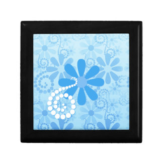 Stylish Turquoise Blue Floral Retro Daisy Flowers Small Square Gift Box