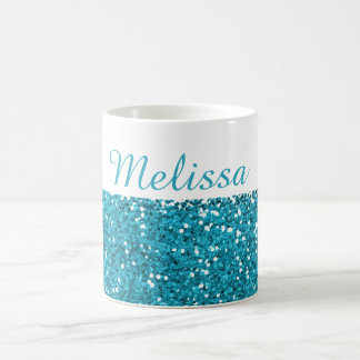 Stylish Turquoise Blue Glitter My Name Coffee Mug