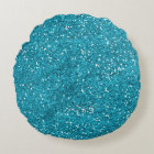 Stylish Turquoise Blue Glitter Round Cushion