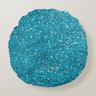 Stylish Turquoise Blue Glitter Round Cushion