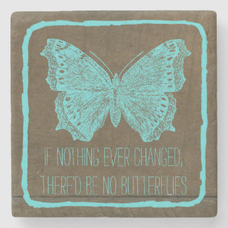 Stylish Turquoise Blue Wood Butterfly Quote Stone Coaster