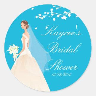 Stylish Turquoise Bride Bridal Shower Sticker