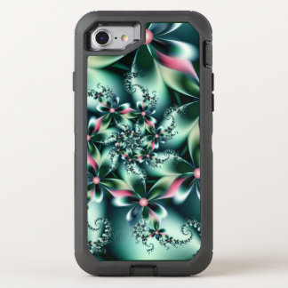 Stylish turquoise Fractal Flowers OtterBox Defender iPhone 7 Case