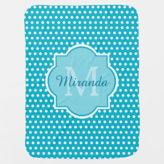 Stylish Turquoise Polka Dots Monogram With Name Baby Blanket