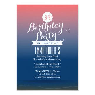 Stylish Twilight Beach Theme Birthday Party 13 Cm X 18 Cm Invitation Card